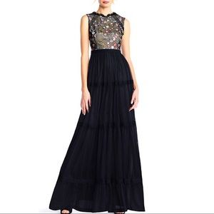 Adrianna Papell   Embroidered-Lace Tiered Gown